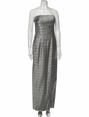 Carmen Marc Valvo Silk Long Dress Silver