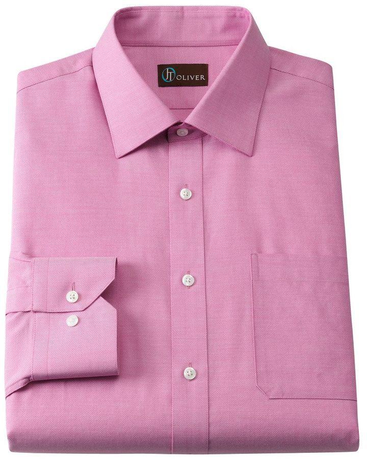 Oliver Jt slim-fit royal oxford spread-collar dress shirt