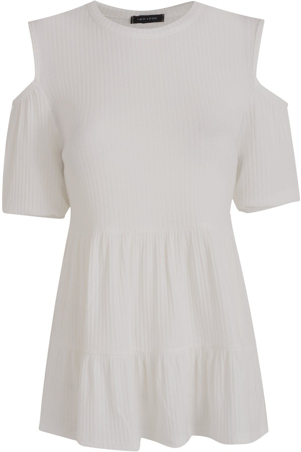 Thumbnail for your product : New Look Ribbed Peplum Cold Shoulder Top