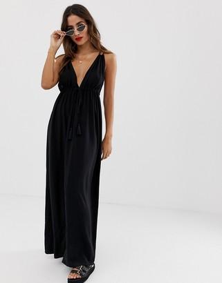 ASOS DESIGN strappy back split maxi beach dress in black