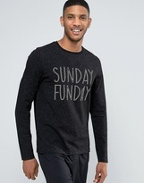 Asos Loungewear Long Sleeve Skater T-Shirt In Nepp Fabric With Sunday Print