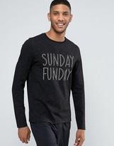 Asos Loungewear Long Sleeve Skater T-shirt In Nepp Fabric With Sunday Print