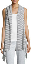 Max Studio Hooded Striped Cotton Vest, Dark Navy/Ivory