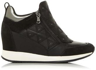 geox black wedge trainers