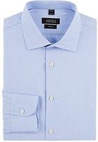 Barneys New York Men's Solid Trim-Fit Shirt-BLUE