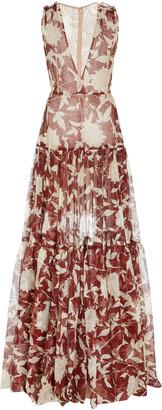 Oscar de la Renta Floral-Printed Silk Gown