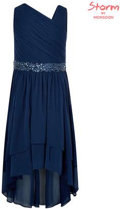 Monsoon Abigail Sequin One-Shoulder Prom Dress Blue