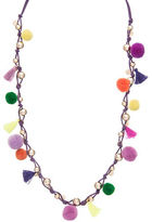 Robert Rose Tassel and Pompom Accented Necklace