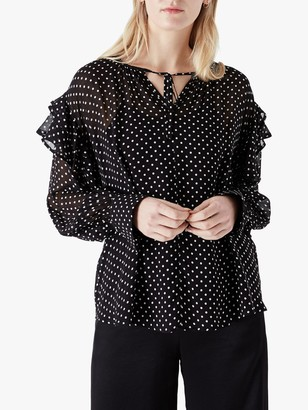 Finery Nyla Spotted Blouse, Black/White