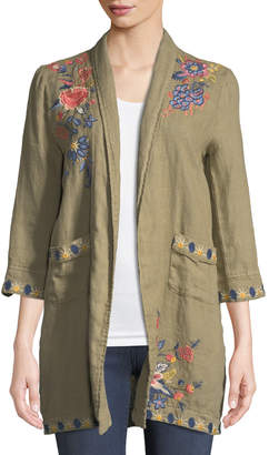 Johnny Was Tivva Heavy Linen Embroidered Coat