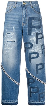 Pinko Crystal-Embellished Cropped Jeans