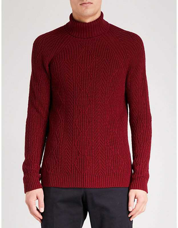 Etro Cable-knit wool turtleneck jumper