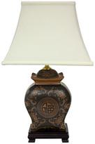 "Oriental Furniture 19"" Black and Brown Medallions Porcelain Lamp"
