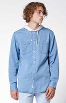 Modern Amusement Hooded Denim Long Sleeve Button Up Shirt