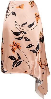 Marni Floral-Print Satin Skirt