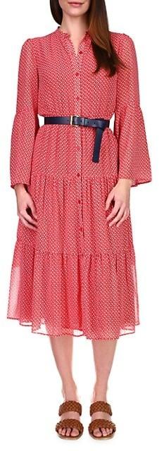 MICHAEL Michael Kors '60s Micro Floral-Print Belted Midi Shirtdress