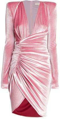 Alexandre Vauthier Deep V-Neck Draped Velvet Cocktail Dress