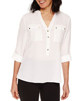 Sag Harbor 3/4 Sleeve Button-Front Shirt