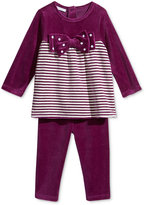 First Impressions Baby Girls' 2-Pc. Velour Striped Bow Tunic & Leggings Set, Only at Macy's