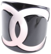 Chanel CC Logo Pink & Black Clear Plastic Bangle Bracelet
