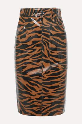 Kwaidan Editions Tiger-print Pu Pencil Skirt - Brown
