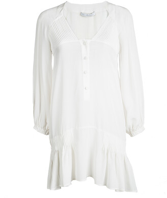 Ermanno Scervino Off White Silk Pintucked Detail Long Sleeve Tunic S