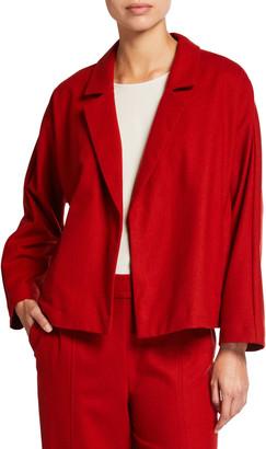 Eileen Fisher Wool Flannel Notch Collar Dolman-Sleeve Jacket
