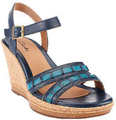 Clarks As Is Bendables Pitch Cocoa Leather Wedges w /Ankle Strap