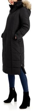 Maralyn & Me Juniors' Faux-Fur-Trim Hooded Maxi Coat