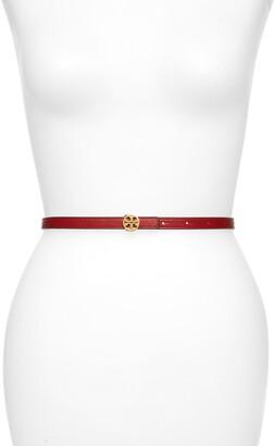 Tory Burch Skinny Leather Logo Belt