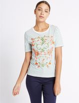 Marks and Spencer Cotton Rich Floral Embroidered T-Shirt