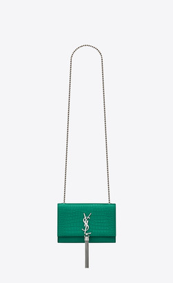 Saint Laurent Monogram Kate With Tassel Kate Small With Tassel In Crocodile-embossed Shiny Leather Malachite Green Onesize