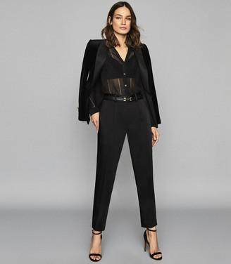 Reiss Ina - Metallic Sheer Knitted Top in Black