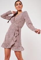Missguided Pink Leopard Print Ruffle Hem Wrap Tea Dress