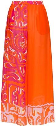 Emilio Pucci wide leg printed beach trousers