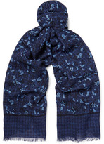 Isaia Printed Cashmere And Wool-blend Twill Scarf - Midnight blue