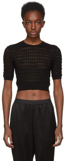 alexanderwang.t Black Float Stitch Crop Sweater