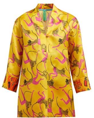 Rianna + Nina - Marta Monkey-print Silk-organza Blouse - Womens - Yellow Multi
