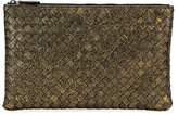 Bottega Veneta Metallic Intrecciato Zip Pouch Bag/Cosmetics Case