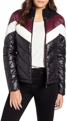 Andrew Marc Colorblock Chevron Puffer Jacket