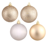 "4-Finish Assorted Ornaments 2.5"" (Set of 4)"