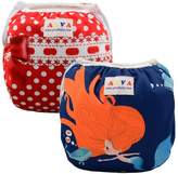 ALVABABY Girl Swim Diapers Reusable One Size for Infants Toddlers Baby Gifts 2pcs SWB09-18-CA