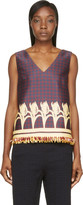 Mother of Pearl Navy and Burgundy Sleeveless Wynn Blouse