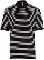Topman Black Stripe Turtle Neck Zip T-Shirt