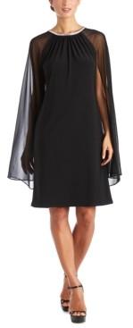 R & M Richards Embellished Cape-Overlay Sheath Dress