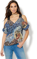 New York & Co. 7th Avenue Design Studio - Cold-Shoulder Blouse - Mixed Print