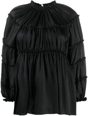 Zimmermann Gathered Satin Balloon Sleeve Blouse