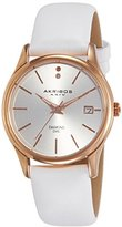 Akribos XXIV Women's AK879WTR Quartz Movement Watch with Silver Dial and White Leather Strap