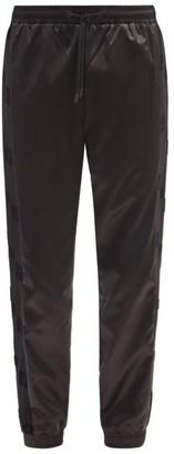 Fendi Ff Side-stripe Cotton-satin Track Pants - Black