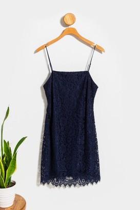 francesca's Emilia Lace Mini Dress - Navy